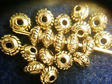 Spacer Beads Antique Gold Metal Rope-edged Disk 30pcs