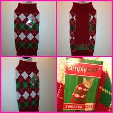 Simply Cat Warm Christmas Sweater red, white green Persian Himalayan size 0 / S