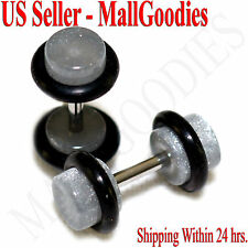 2073 Metallic Gray Fake Cheater Illusion Faux Ear Plugs 16G Bar 4G = 5mm - 2pcs