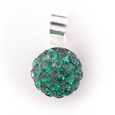 NEU 925 Silber 10mm KUGEL KETTENANHÄNGER 2mm STRASSSTEINE emerald/grün ANHÄNGER