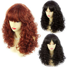 Wiwigs Lovely Curly Black Brown Red Medium Summer Style Skin Top Ladies Wigs