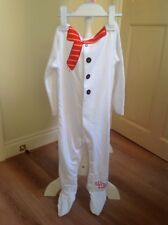 babys white velour snow man all in one play suit size 18-24 months