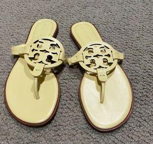 Tory Burch Women's Miller Welt Double T Leather Thong Sandals BANANA YELLOW SZ 9