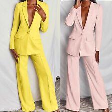 Tailleur completo donna giacca pantaloni over size  fashion giallo rosa T001