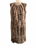 DANA BUCHMAN Women's Brown Animal Print Sleeveless Dress Size 6