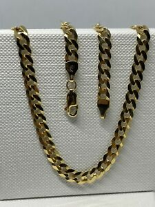 """Genuine Solid 9ct Gold 5mm Round Curb Chain Necklace 20""""  New"""
