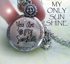 You Are My Sunshine Locket Necklace, Letter and Sun Charms, and Crystal