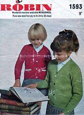 ~ Vintage 1960's Robin Knitting Pattern for Child's Smart V-Neck Cardigan ~