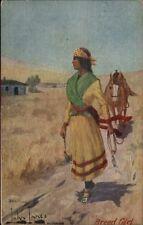 Native American Indian Girl & Horse - John Innes c1910 Postcard