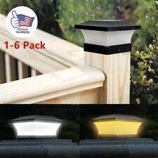 Outdoor Garden Black Solar LED Post Deck Cap Square Fence Lights Landscape Lamps