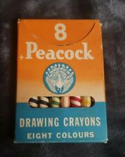PEACOCK (8) drawing crayons eight colours (vintage)