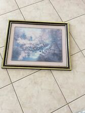 Beautiful Homco  Home Interior Pastel Pink & Blue Flowers & Trees with a Strem