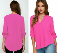 Ladies Rosy V Neck Chiffon Top Long Sleeve Loose Casual T Shirt Blouse size 8-16