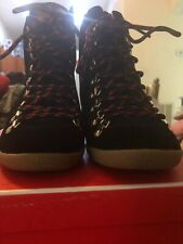 Coach Noelle Black/CLSuede Signature Sneaker Wedge Lace Ankle Boot Sz 6.5M