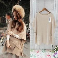 Korean Women's Fashion Cloak Pocket Pullover Knit Sweater Top Beige