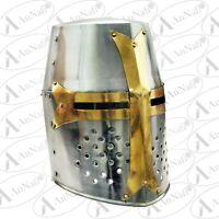 Medieval Knight Armor Crusader Viking Templar Helmet Helm w// Mason/'s Brass Cross