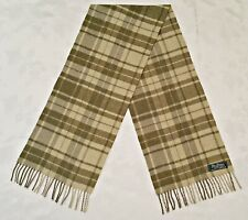 ITALY VINTAGE AUTHENTIC FINE MERINO WOOL PLAIDS & CHECKS LONG MEN'S FRINGE SCARF