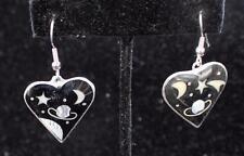 Alpaca Mexico Silvertone Mother of Pearl Abalone Dangle Heart Pierced Earrings#1