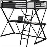DHP X Shaped Metal Twin Loft Bed loft bunk built in Black with Desk
