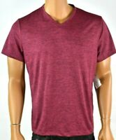 Alfani Mens T-Shirt L New Red Burgundy Short Sleeves V- Neck Stretch Casual