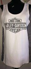 HARLEY DAVIDSON White Black Ribbed Tank Top Size 2XL NWOT Made In USA