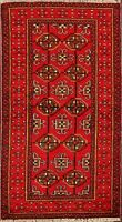 RED Geometric Balouch Afghan Oriental Area Rug Hand-Knotted Tribal Carpet 3'x6'