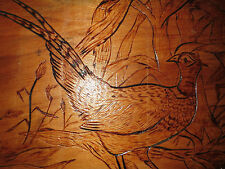 Burnt Wooden Vtg Pheasant Hunting Birds Lodge Mirror Cabin Wall Hanging ~24x12""