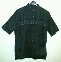 Sharp CARIBBEAN JOE Size L Shirt Silk Embroidered Flowers on Black Foliage Print