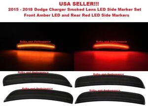 SMOKED LENS LED SIDE MARKER LIGHTS FRONT & REAR SET for 2018-2020 DODGE CHARGER