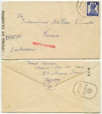 WW2 CENSORED AX + COUPON REPONSE HS INDIA to RED CROSS GENEVA 3 1/2A SINGLE 1943
