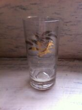 Retro-Vintage Clear-Glassware Glass with Gold Wheat Design/Pattern