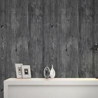 Wallpaper 9.5M 3D Wood Timber Theme Roll Rustic Panel Wood Pattern Grey