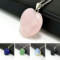 Natural Quartz Stone Gemstone Heart Pendant Necklace Party Jewelry Charm Gift