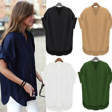 Women Lapel V-neck Loose T-shirt Cotton Short Sleeve Casual Tops Blouse Tee Plus