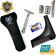 Safety Razor Double Edge Stainless Steel Razors + 10 Free Blades Barber Use