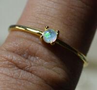Vintage 18k gold genuine Australian Fire Opal gemstone ring size 8, Q