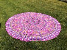 Indiano Mandala arazzo Rotondo Gettare Hippie Spiaggia Coperta Tappetino Yoga Cotone Gypsy P