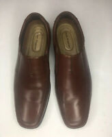 Men's Hush Puppies Plane slip on loafer brown leather shoe Size 8W