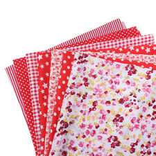 EE_ 7Pcs Floral Patchwork Cotton Fabric Plain Cloth for DIY Sewing Quilting Late