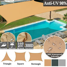 More details for heavy duty sun shade sail garden patio awning waterproof canopy 98% uv block new