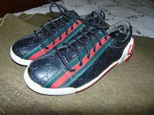 Vintage Cursive Gucci Black Leather GG Women Sneakers Shoes Size 40  US 8.5 - 9