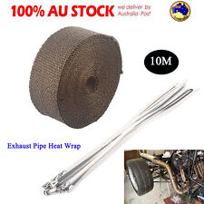 New EXHAUST HEAT WRAP TITANIUM 10M X 50MM ROLL +10 STAINLESS TIES - INSULATION A
