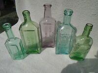 Colorful Lot of 5 Embossed Meds.Aqua,Amethyst + Rare Green Haskins & Burnams