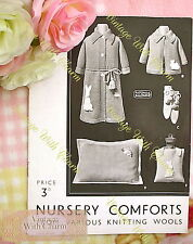 Vintage 30s Knitting Pattern 'Nursery Comforts' Rabbit Motif 9 Stunning Patterns