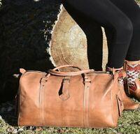 Rustic Tan Brown Genuine Calfskin Leather Weekender Duffel Overnight Gym Bag