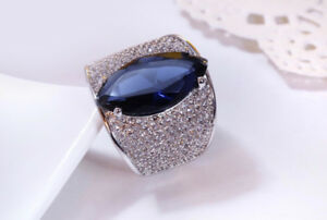 18k White Gold Large Ring made w Swarovski Crystal Sapphire Blue Luxe Index Ring