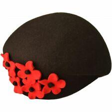 High Quality  Wool Felt Women  Vintage Cloche Hat Black,Grey Adjustable IN UK