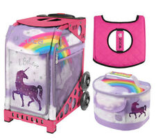 Zuca Sport Bag - Unicorn 2  with Gift Lunchbox and Zuca Seat Cover (Pink Frame)