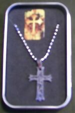 Savior Steel embossed CROSS Necklace -Ball Chain- Tin Case - NEW