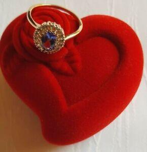 Eleganter Ring (Gr. 19/ 59) aus 585 Gelbgold mit Tansanit AAAA+ & weißem Zirkon
